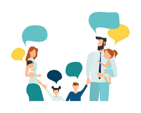 Vector illustration, flat style, people talk. Family with thoughts on white background, vector