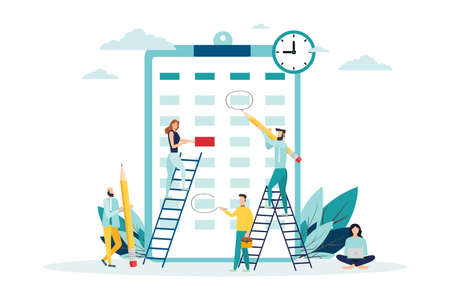 vector illustration. little people characters make an online schedule in the tablet. design business graphics tasks scheduling on a week - Vector - Vector illustration 일러스트