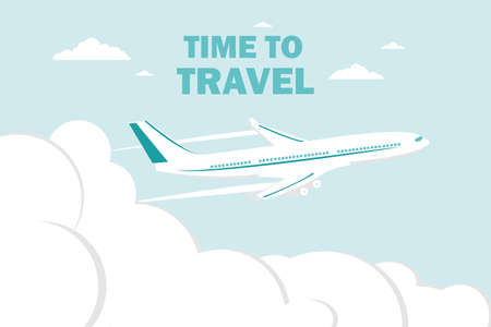 Airplane flies in the sky and cloud on blue background. Concept time to travel. Vector in flat style. Vector illustration