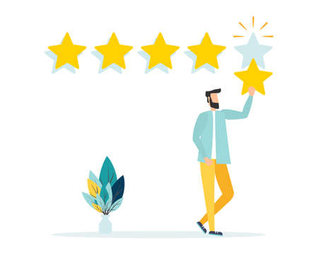 Customer review rating. Positive online feedback, product or service evaluation. Young man giving five star rating. Flat vector illustration