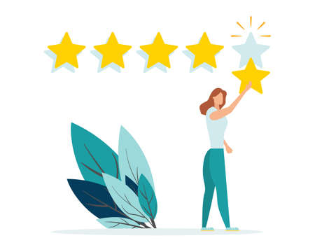 Customer review rating. Positive online feedback, product or service evaluation. Young woman giving five star rating. Flat vector illustration 일러스트