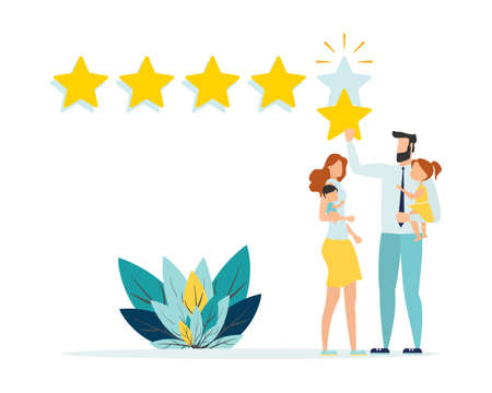 Rating of customer reviews. Positive online review, product or service rating. The young family gives a five-star rating. Flat vector illustration 일러스트