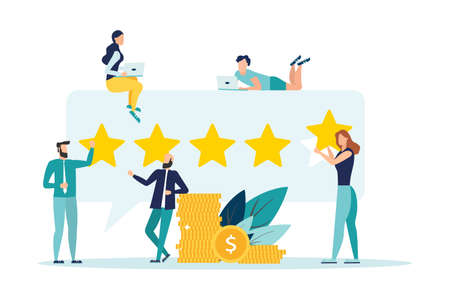Rating of customer reviews. Positive online review, evaluation of a product or service. People give a five-star rating. Flat vector illustration