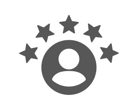 Rating of customer reviews. Positive online review, product or service rating. The man gets a five star rating. Flat vector illustration