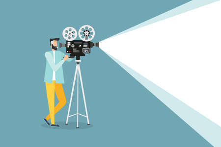 Movie time concept. Template for movie poster, banner, man shows a movie. Movie projector illustration 일러스트