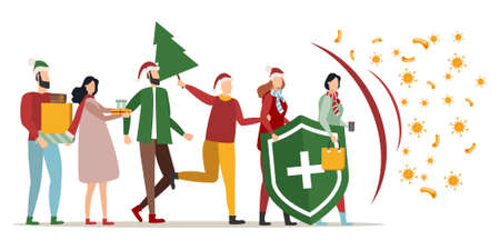 Immune system vector logo icon. Protection against bacteria. A healthy family celebrates Christmas and New Year, stands behind the shield, and the shield repels the attack of bacteria.