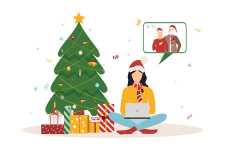People wishing Merry Christmas and Happy New Year, celebrating holiday and giving gifts via video call or web conference in 2021. Flat vector illustration for web, banner, poster