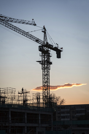 develope: Industrial construction cranes on site