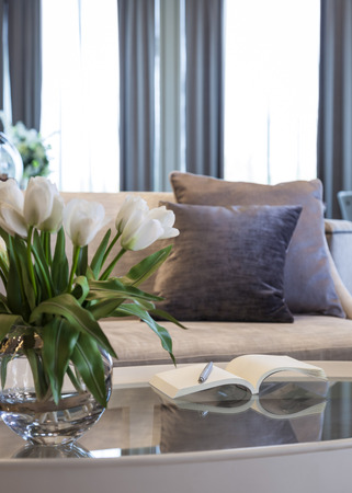 Living Room With Sofa And Pillows Book On Table And Tulip Flower Decoration  Photo Part 90