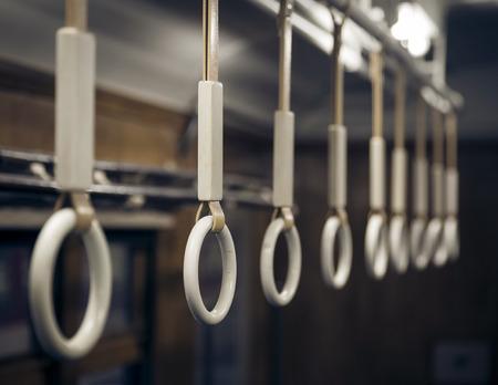handle bars: Handle on train Stock Photo