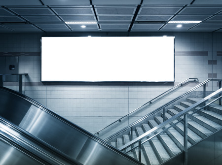 Mock up Horizontal banner commercial sign in subway station Stock Photo