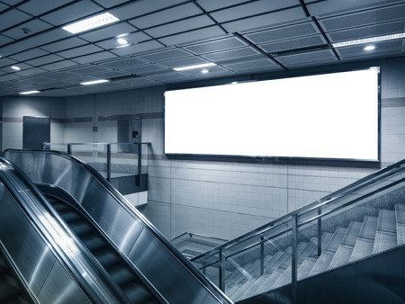 Mock up billboard in subway station perspective