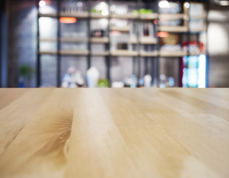 Table top counter Bar Restaurant Interior blurred background Stock Photo