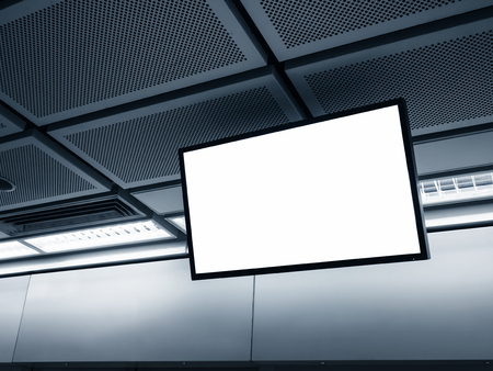 tv panel: Blank LCD Screen display mock up banner in Subway station Stock Photo