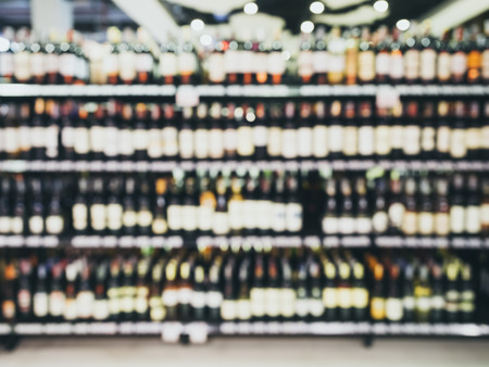 Blurred Wine Liquor bottle on shelf Bar Retail Shop