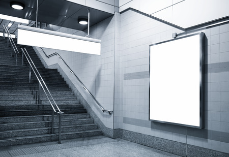stairs interior: Billboard and direction signage mock up in subway with stairs