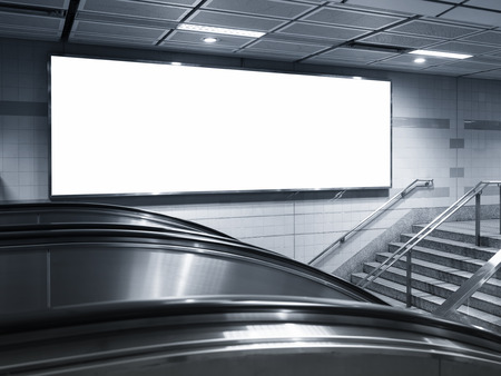 billboards: Blank Horizontal Billboard Banner interior subway station Stock Photo