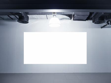mocked: Mock up blank Screen display on wall Exhibition Interior