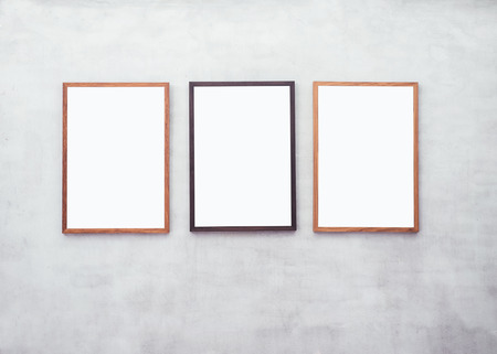 mocked: Mock up Blank Poster with Wooden frame on Cement wall
