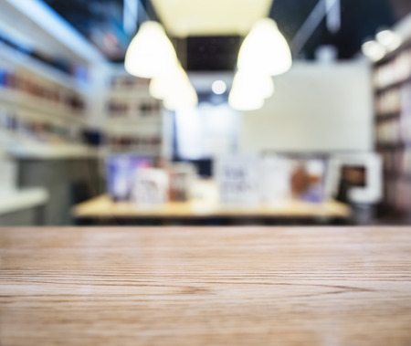 Table top with Blurred Retail shop interior background Reklamní fotografie