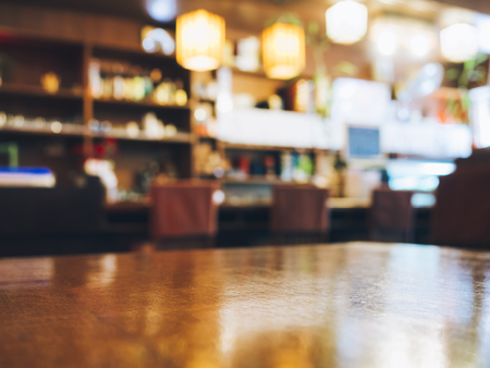bar top: Blurred Restaurant table counter Bar shop background Stock Photo