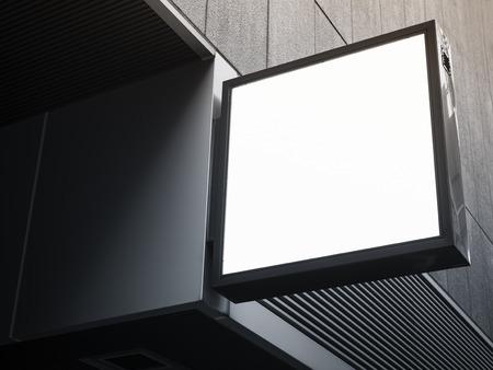 cuadrados: tienda Letrero maqueta perspectiva de visualización forma cuadrada Foto de archivo