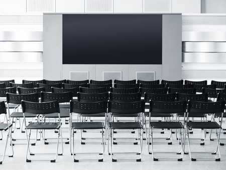 modern building: Business meeting Seminar conference room with Seats and blank screen Display