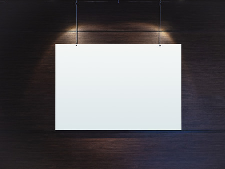 light spot: Mock up Blank Poster Hanging with Spot light on wall Stock Photo