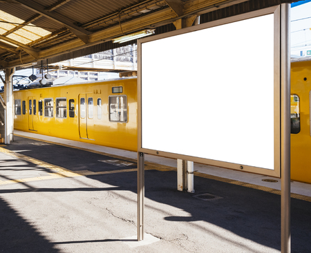 mocked: Blank board Template at Train station with Public transportation Background perspective