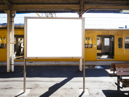 Blank board Template at Train station with Public transportation Background Reklamní fotografie