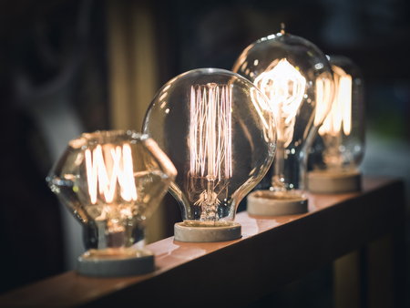 Vintage style light bulbs Interior decoration display
