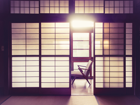Japanese style room Interior with retro chair Vintage tone 版權商用圖片