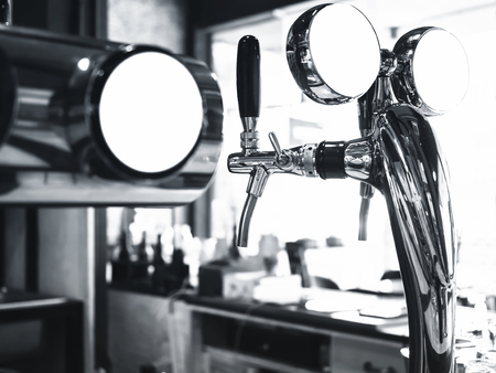 mocked: Beer Tab with Logo mock up Pub Bar counter background