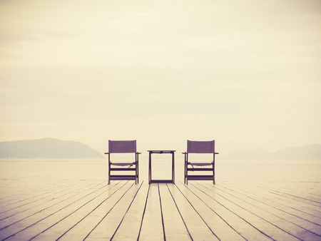 sillon: Love concept background Sea Landscape with two chairs