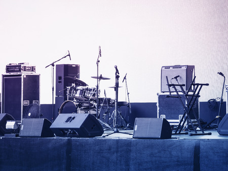 Concert Stage Music and Sound Equipment Event background Stock Photo