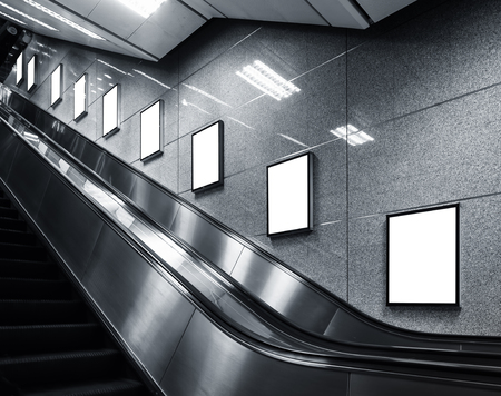 poster template: Mock up Poster media template Ads display in Subway station escalator