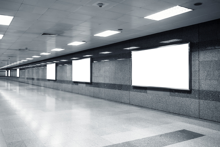 light box: Blank Mock up Billboard Banner Light box template in subway station perspective