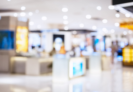 Blurred Shopping Mall Interior Retail Business background
