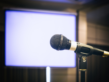 Microphone with Blank screen Background Conference Seminar Event in Meeting room Imagens