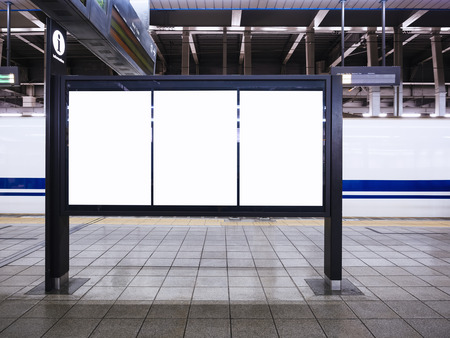 Blank Poster Template Train schedule Information at Train station 版權商用圖片