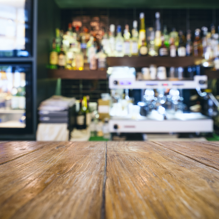 bar top: Table top with Blurred Bar restaurant cafe interior background