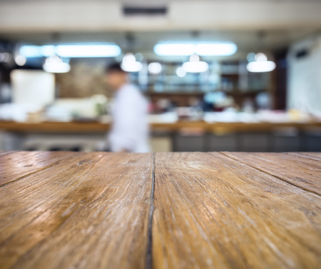 Table top Bar counter restaurant with Blur People background