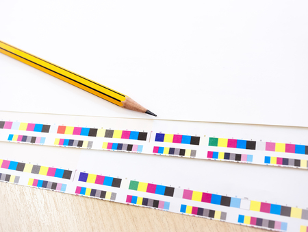 digital printing: Digital Printing PressOffset Industry work process Pencil and Colour chart on Background