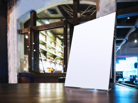 restaurant dining: Mock up Menu frame on Table in Bar Restaurant cafe
