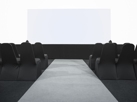 mocked: Mock up Blank screen Display Business meeting Seminar room conference with Seats Stock Photo