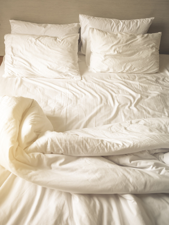Bedding Sheet Pillows and Blanket Top view Фото со стока - 56320362
