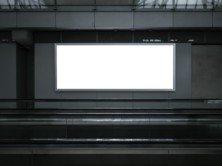 mocked: Blank Light Box Mock up Poster Billboard Media Banner Escalator indoor Stock Photo