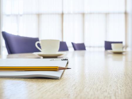 ビジネス会議席コーヒーと本ボード ルーム インテリア テーブル