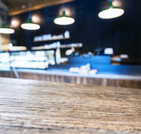 Table top with Blurred Cafe Kitchen interior background