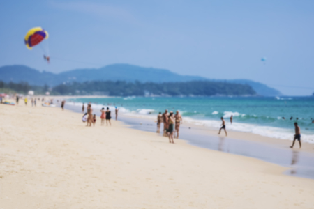 fun day: Blur beach island Summer Holiday with people walking Outdoor Activity
